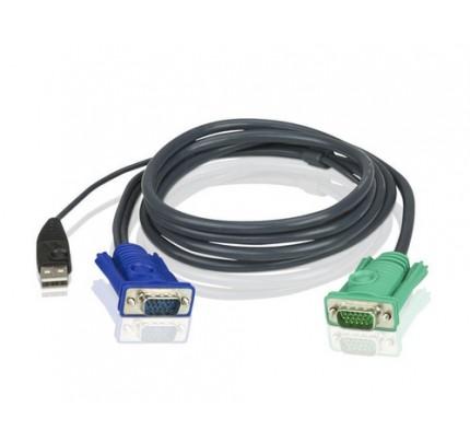 ATEN 2L5203U - 3 m - VGA - Schwarz - HD-15 - USB A - SPHD-15 - Male connector / Male connector