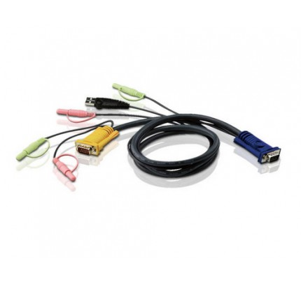 ATEN 2L5302U - 1,8 m - VGA - Schwarz - HD-15 - USB A - 2x3.5mm - SHDB - 2x3.5mm - Male connector / Male connector